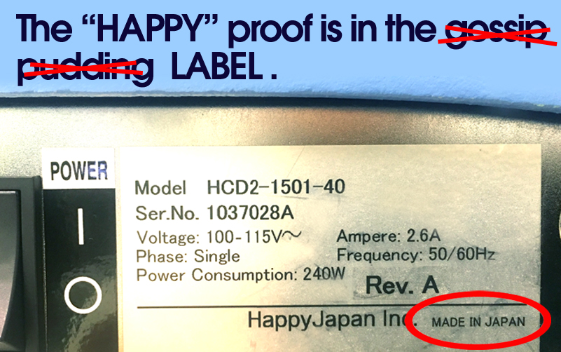 HAPPY embroidery machines are made in Japan.