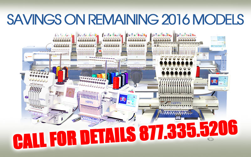 Savings on 2016 Happy embroidery machines