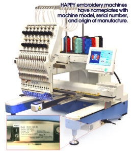 Happy embroidery machine nameplate location