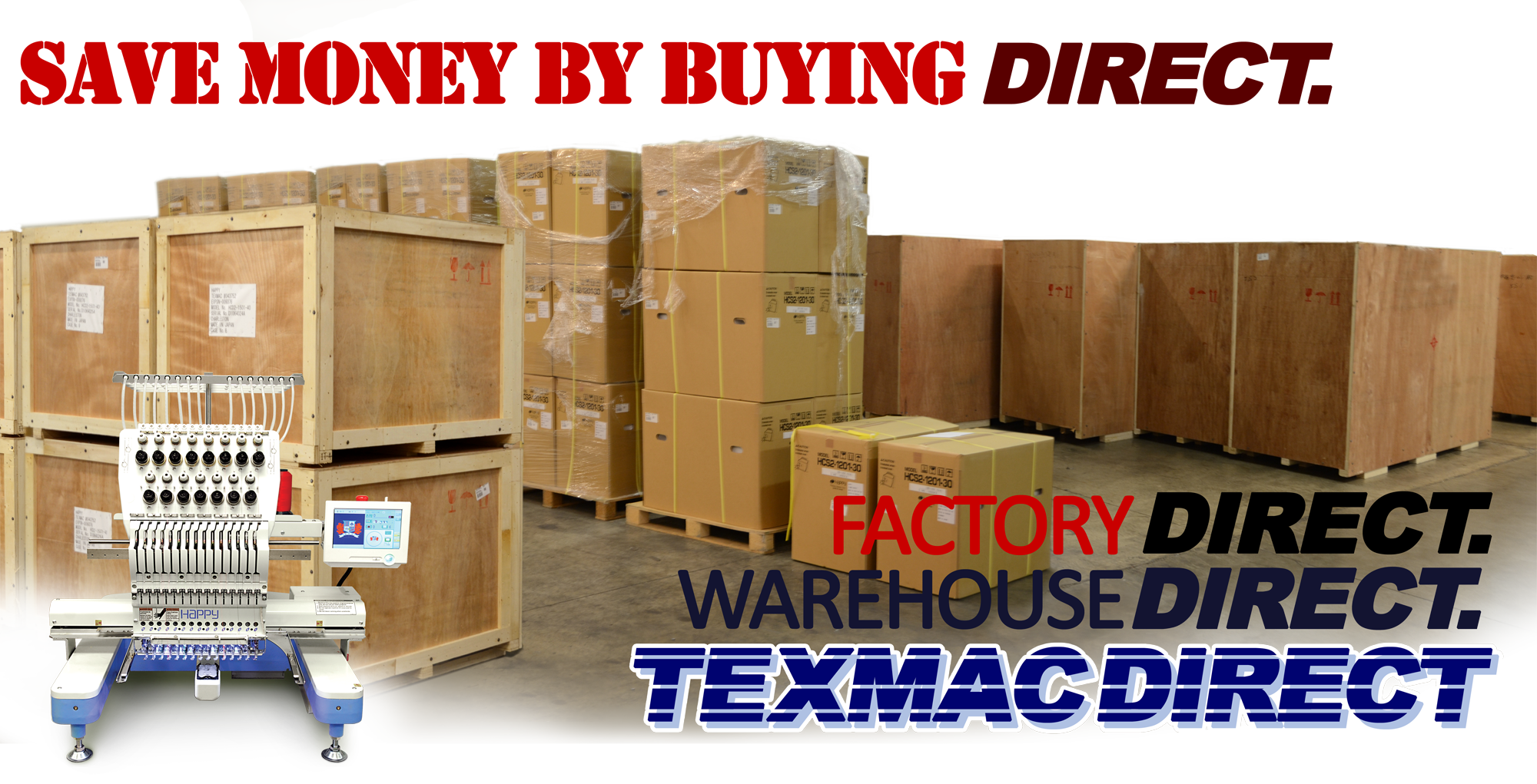 Buy Happy embroidery machines direct from Texmac