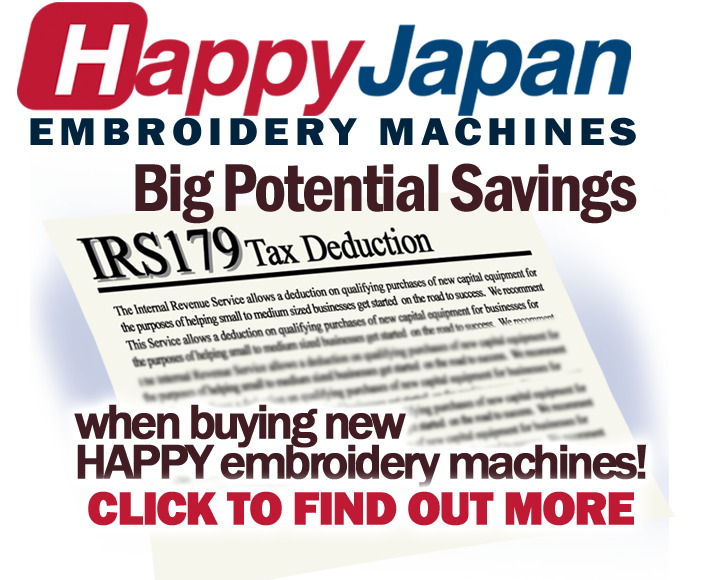 tax breaks on new Happy embroidery machines