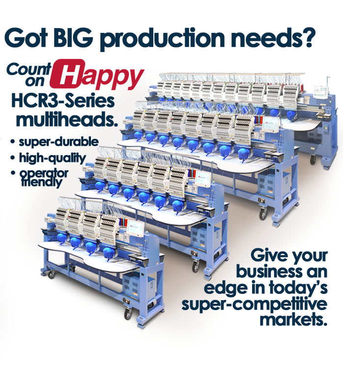 Happy HCR3 multi-head embroidery machines