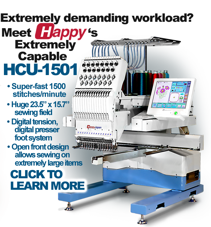 Happy HCU-1501 embroidery machine