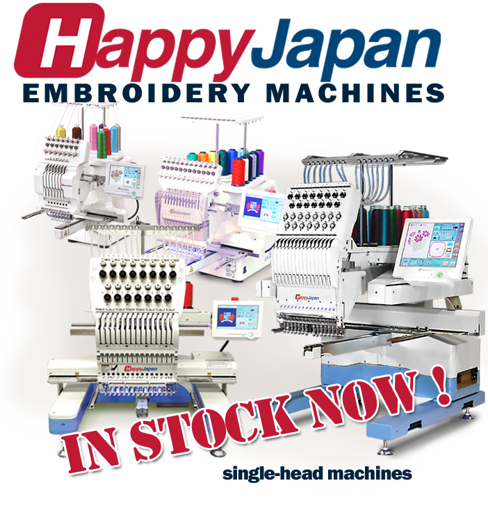 Happy single head embroidery machines in stock