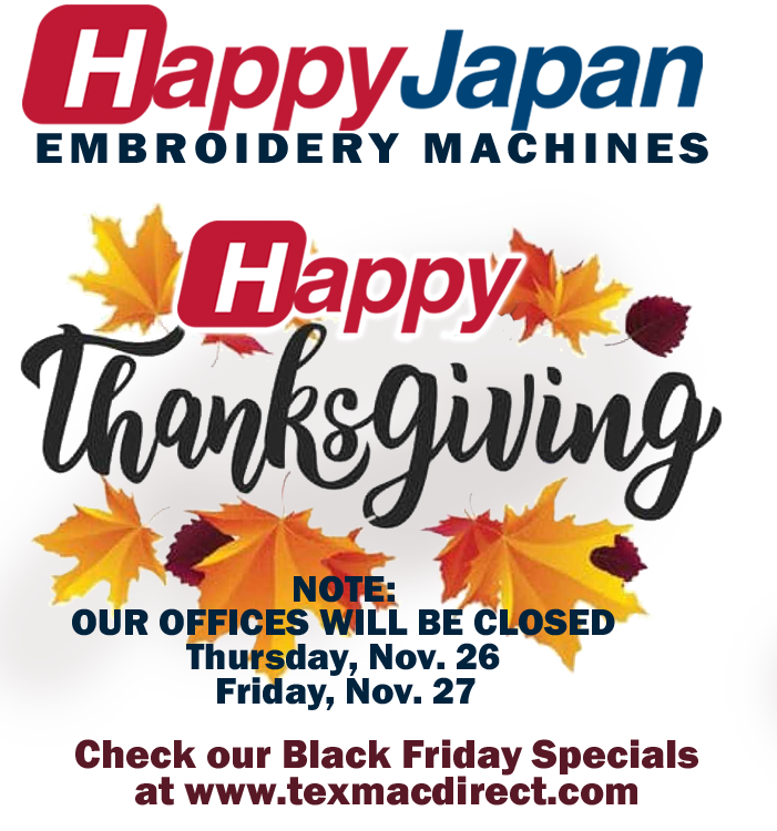 Happy Thanksgiving from Texmac Happy Embroidery Machines