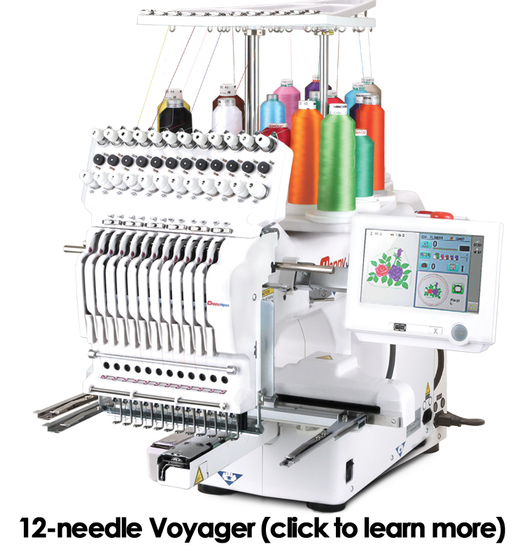 Happy 12-needle Voyager embroidery machine
