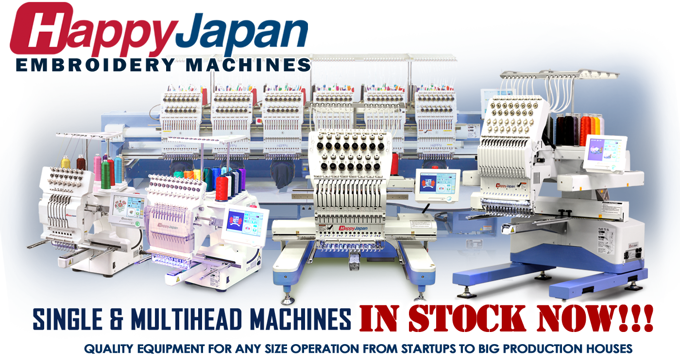 Happy commercial embroidery machines in stock at Texmac