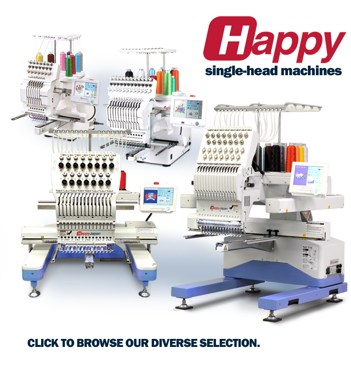 Single head embroidery machines from HappyJapan
