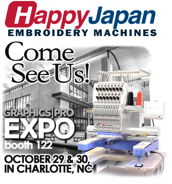 See HappyJapan embroidery machines at the Charlotte show